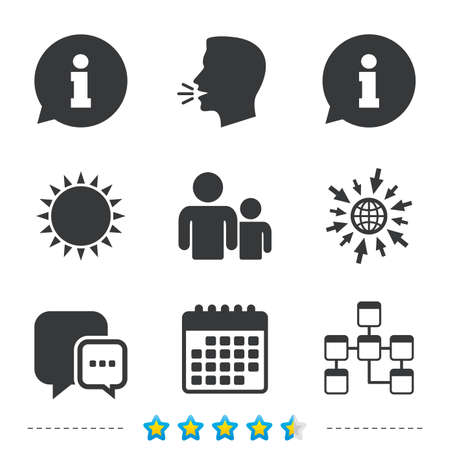 Information sign. Group of people and database symbols. Chat speech bubbles sign. Communication icons. Information, go to web and calendar icons. Sun and loud speak symbol. Vector Illustration