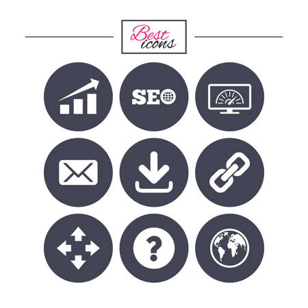 Internet, seo icons. Bandwidth speed, download arrow and mail signs.