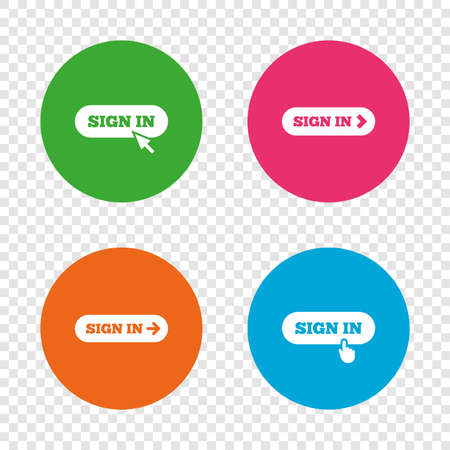 Sign in icons. Login with arrow, hand pointer symbols. Website or App navigation signs. Round buttons on transparent background. Vector