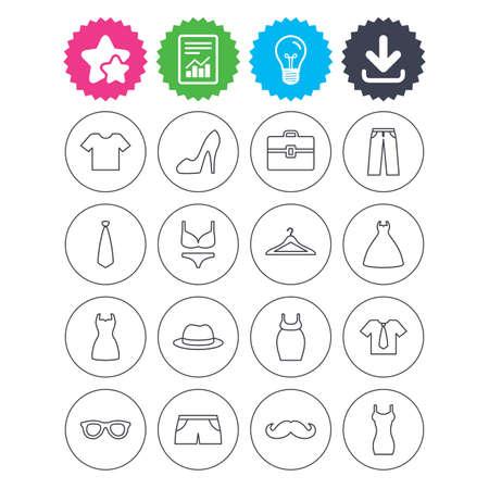 Télécharger, ampoule et signaler les signes. Icônes pour vêtements et accessoires. Chemise avec cravate, pantalons et symboles vestimentaires féminins. Chapeaux, cintre et lunettes minces enseignes de contour. Sous-vêtements et vêtements de maternité Banque d'images - 73621918