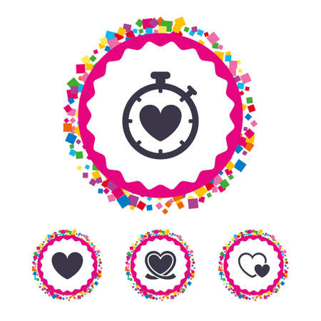seconds: Web buttons with confetti pieces. Heart ribbon icon. Timer stopwatch symbol. Love and Heartbeat palpitation signs. Bright stylish design. Vector Illustration