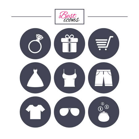 Clothes, accessories icons. T-shirt, sunglasses signs. Wedding dress and ring symbols. Classic simple flat icons. Vector