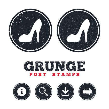 Grunge post stamps. Women sign. Womens shoe icon. High heels shoe symbol. Information, download and printer signs. Aged texture web buttons. Vector
