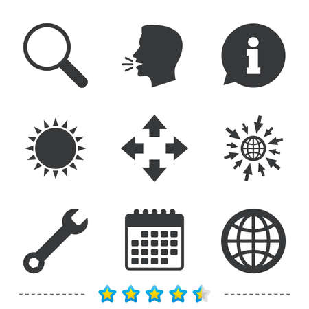 llave de sol: Magnifier glass and globe search icons. Fullscreen arrows and wrench key repair sign symbols. Information, go to web and calendar icons. Sun and loud speak symbol. Vector
