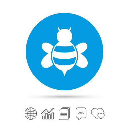 Bee sign icon. Honeybee or apis with wings symbol. Flying insect. Copy files, chat speech bubble and chart web icons. Vector