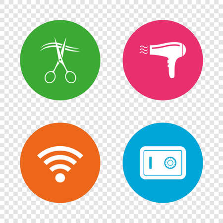 Hotel services icons. Wi-fi, Hairdryer and deposit lock in room signs. Wireless Network. Hairdresser or barbershop symbol. Round buttons on transparent background. Vector Illustration