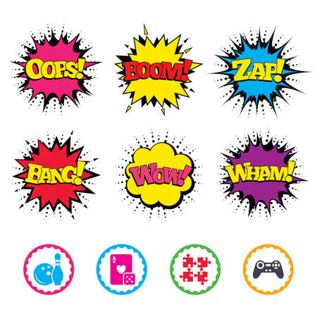 Comic Wow, Oops, Boom and Wham sound effects. Bowling and Casino icons. Video game joystick and playing card with puzzles pieces symbols. Entertainment signs. Zap speech bubbles in pop art. Vector