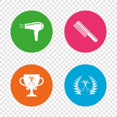 Hairdresser icons. Scissors cut hair symbol. Comb hair with hairdryer symbol. Barbershop laurel wreath winner award. Round buttons on transparent background. Vector Illustration