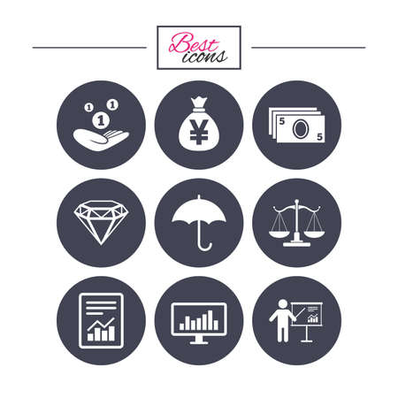 Money, cash and finance icons. Money savings, justice scales and report signs. Presentation, analysis and umbrella symbols. Classic simple flat icons. Vector Vector Illustration