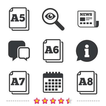 a7: Paper size standard icons. Document symbols. A5, A6, A7 and A8 page signs. Newspaper, information and calendar icons. Investigate magnifier, chat symbol. Vector Illustration