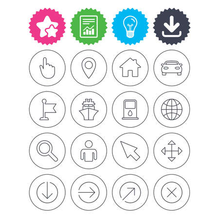 Download, light bulb and report signs. GPS navigation icons. Car and Ship transport. You are here, map pointer symbols. Search gas or petrol stations, hotels. Best quality star symbol. Flat buttons Иллюстрация
