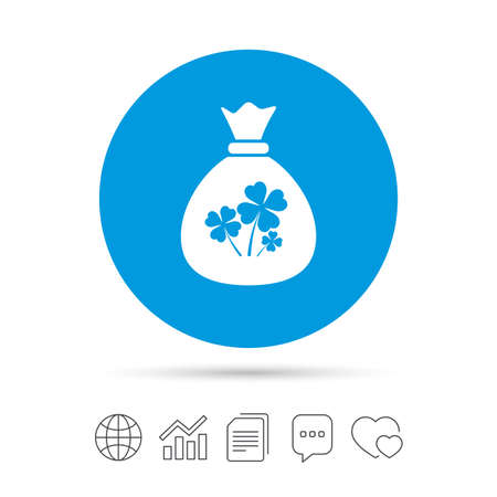 clover buttons: Money bag with Clovers sign icon. Saint Patrick symbol. Copy files, chat speech bubble and chart web icons. Vector