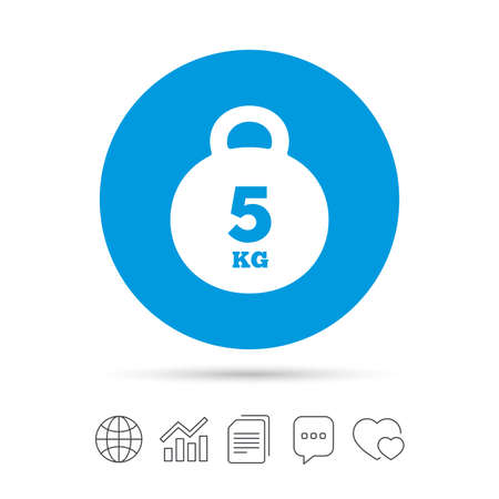 Weight sign icon. 5 kilogram (kg). Sport symbol. Fitness. Copy files, chat speech bubble and chart web icons. Vector Illustration
