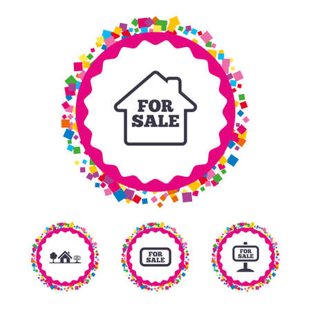 house for sale: Web buttons with confetti pieces. For sale icons. Real estate selling signs. Home house symbol. Bright stylish design. Vector Illustration