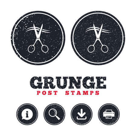 Grunge post stamps. Scissors cut hair sign icon. Hairdresser or barbershop symbol. Information, download and printer signs. Aged texture web buttons. Vector