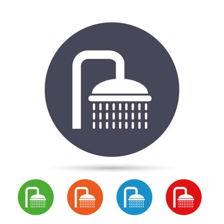 washstand: Shower sign icon. Douche with water drops symbol. Round colourful buttons with flat icons. Vector