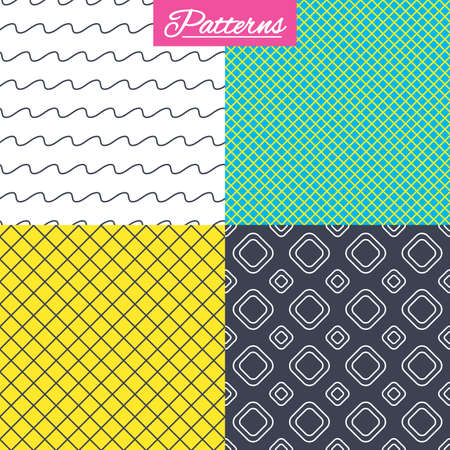 Rhombus grid and waves lines seamless textures. Linear geometric patterns. Modern textures. Abstract patterns with colored background. Vector Illustration