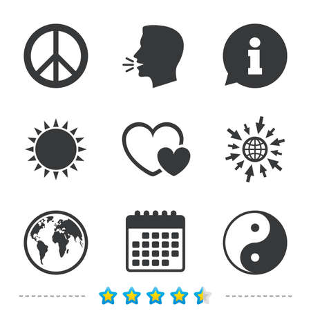 anti noise: World globe icon. Ying yang sign. Hearts love sign. Peace hope. Harmony and balance symbol. Information, go to web and calendar icons. Sun and loud speak symbol. Vector