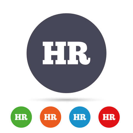 Human resources sign icon. HR symbol. Workforce of business organization. Round colourful buttons with flat icons. Vector