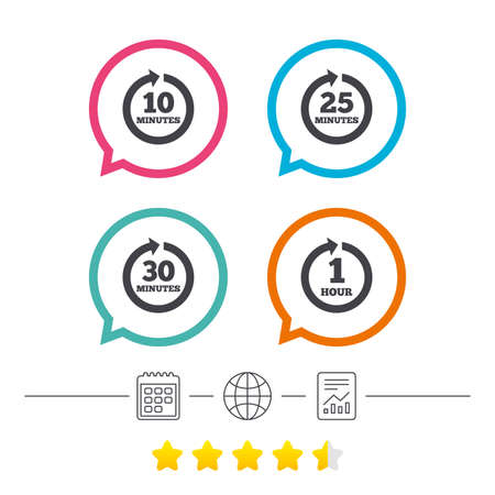 Every 10, 25, 30 minutes and 1 hour icons. Full rotation arrow symbols. Iterative process signs. Calendar, internet globe and report linear icons. Star vote ranking. Vector