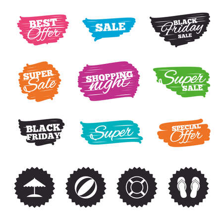Ink brush sale banners and stripes. Beach holidays icons. Ball, umbrella and flip-flops sandals signs. Lifebuoy symbol. Special offer. Ink stroke. Vector