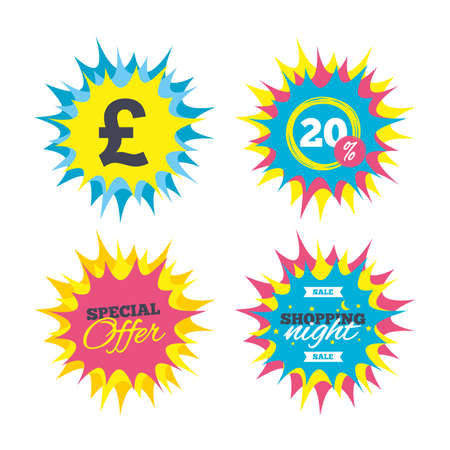 Shopping offers, special offer banners. Pound sign icon. GBP currency symbol. Money label. Discount star label. Vector Illustration