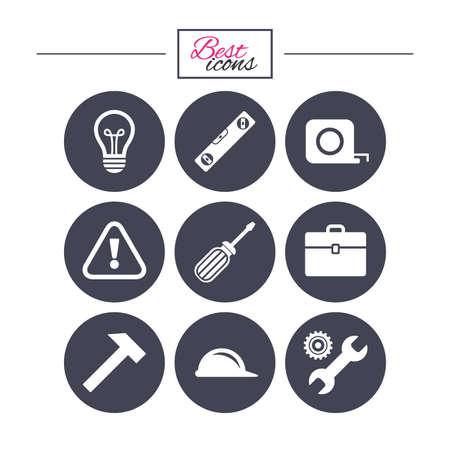 Reparatur, Bau-Ikonen. Ingenieur-, Helm- und Schraubendreherzeichen. Lampe, Elektrizität und Aufmerksamkeit Symbole. Klassische einfache flache Symbole. Vektor Standard-Bild - 73824973