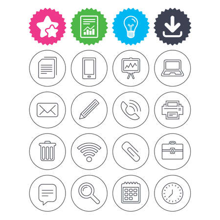 Download, light bulb and report signs. Office equipment icons. Computer, printer and smartphone. Wifi, chat speech bubble and copy documents. Vector
