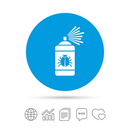 Bug disinfection sign icon. Fumigation symbol. Bug sprayer. Copy files, chat speech bubble and chart web icons. Vector Vector Illustration