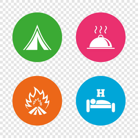 breakfast in bed: Hot food, sleep, camping tent and fire icons. Hotel or bed and breakfast. Road signs. Round buttons on transparent background. Vector