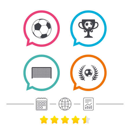 Football icons. Soccer ball sport sign. Goalkeeper gate symbol. Winner award cup and laurel wreath. Calendar, internet globe and report linear icons. Star vote ranking. Vector Illustration