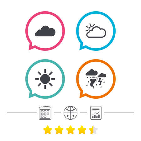 Weather icons. Cloud and sun signs. Storm or thunderstorm with lightning symbol. Gale hurricane. Calendar, internet globe and report linear icons. Star vote ranking. Vector Illustration