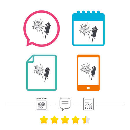 Fireworks with rocket sign icon. Explosive pyrotechnic symbol. Calendar, chat speech bubble and report linear icons. Star vote ranking. Vector