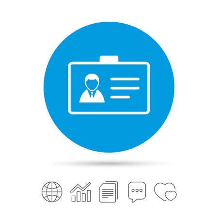 ID card sign icon. Identity card badge symbol. Copy files, chat speech bubble and chart web icons. Vector Illustration