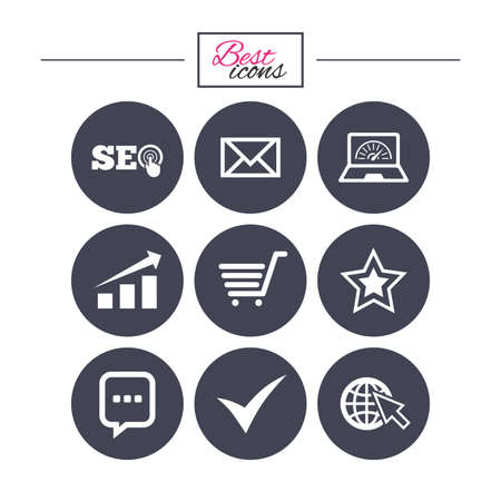 Internet, seo icons. Tick, online shopping and chart signs. Bandwidth, mobile device and chat symbols. Classic simple flat icons. Vector Illustration