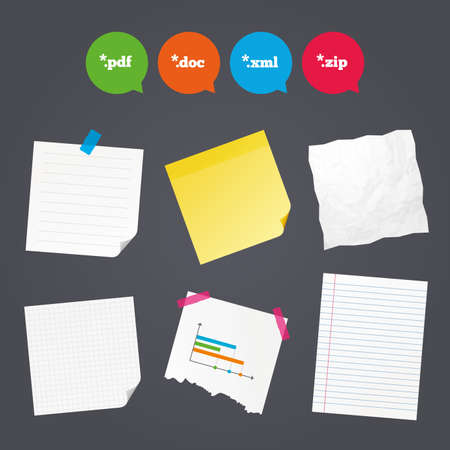 Business paper banners with notes. Document icons. File extensions symbols. PDF, ZIP zipped, XML and DOC signs. Sticky colorful tape. Speech bubbles with icons. Vector Illustration
