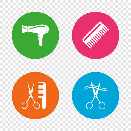 Hairdresser icons. Scissors cut hair symbol. Comb hair with hairdryer sign. Round buttons on transparent background. Vector