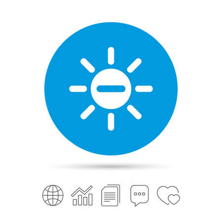 brightness: Sun minus sign icon. Heat symbol. Brightness button. Copy files, chat speech bubble and chart web icons. Vector