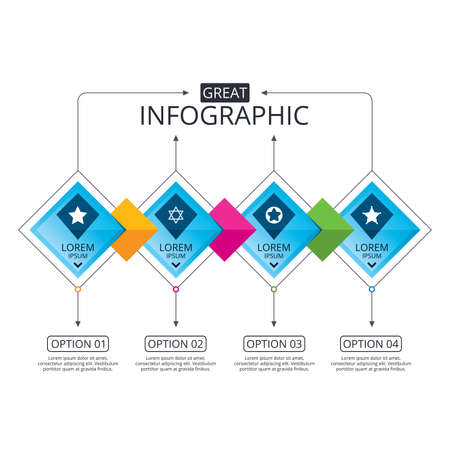 Infographic flowchart template. Business diagram with options. Star of David icons. Sheriff police sign. Symbol of Israel. Timeline steps. Vector Imagens - 74121145