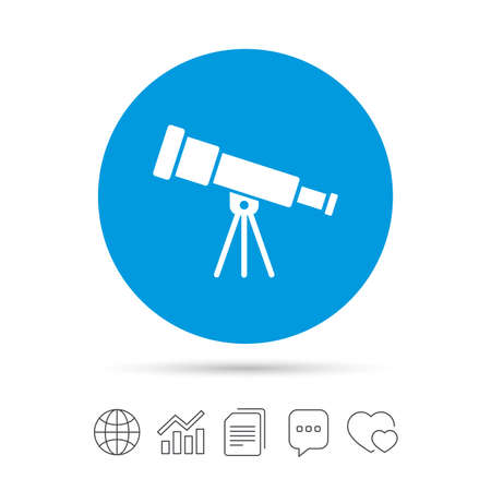 Telescope icon. Spyglass tool symbol. Copy files, chat speech bubble and chart web icons. Vector Illustration