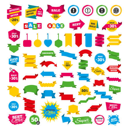 Web banners and labels. Special offer tags. Attention icons. Exclamation speech bubble symbols. Caution signs. Discount stickers. Vector Illustration
