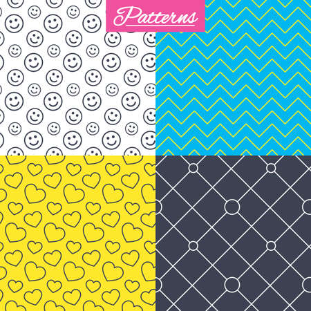 Hearts, smile and circles grid seamless textures. Linear geometric ornament patterns. Modern textures. Abstract patterns with colored background. Vector Illustration