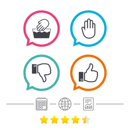 Hand icons. Like and dislike thumb up symbols. Not machine washable sign. Stop no entry. Calendar, internet globe and report linear icons. Star vote ranking. Vector