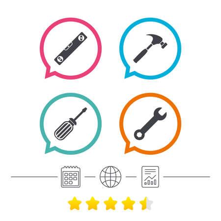 Schraubenzieher- und Schlüsselschlüssel-Werkzeugikonen. Wasserwaage und Hammer Zeichen Symbole. Kalender, Internet Globus und Bericht lineare Symbole. Star-Votum-Ranking. Vektor Standard-Bild - 73825553