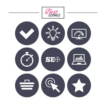 Internet, seo icons. Bandwidth speed, online shopping and tick signs. Favorite star, notebook chart symbols. Classic simple flat icons. Vector