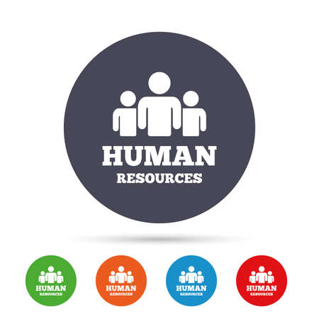 Human resources sign icon. HR symbol. Workforce of business organization. Group of people. Round colourful buttons with flat icons. Vector Illustration