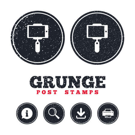 old phone: Grunge post stamps. Monopod selfie stick icon. Self portrait tool. Information, download and printer signs. Aged texture web buttons. Vector