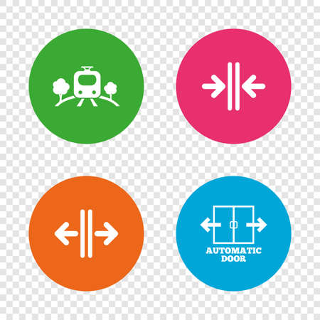 Train railway icon. Overground transport. Automatic door symbol. Way out arrow sign. Round buttons on transparent background. Vector Çizim