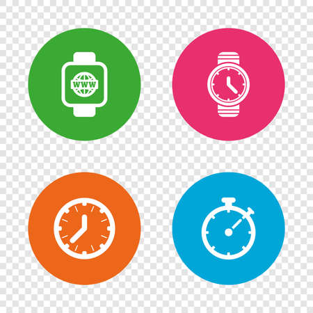 Smart watch with internet icons. Mechanical clock time, Stopwatch timer symbols. Wrist digital watch sign. Round buttons on transparent background. Vector