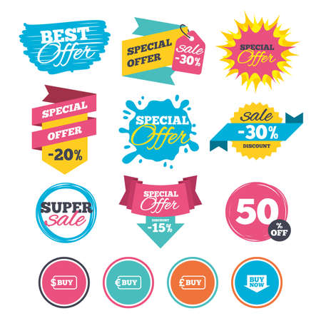 Sale banners, online web shopping. Buy now arrow icon. Online shopping signs. Dollar, euro and pound money currency symbols. Website badges. Best offer. Vector